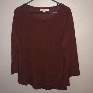 Loft maroon 3/4 sleeve light sweater